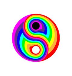 Concept rainbow flat symbol yin-yang digital vector