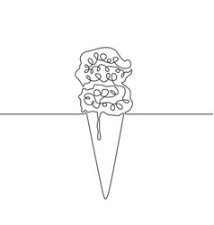 continuous line ice cream with waffles vector image