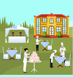 Cooking people colored composition vector