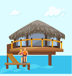 couple on beach vacation in sea ocean bungalow vector image