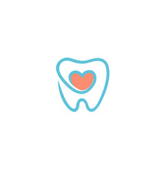 creative teeth heart inside logo vector image