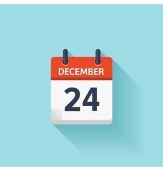 December 24 flat daily calendar icon vector