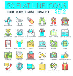 Digital marketing and e-commerce icons vector