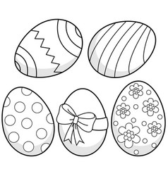 easter eggs black and white coloring page vector image