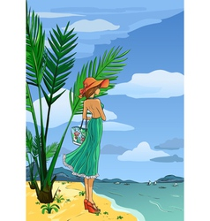 Elegant lady in hat and long dress on beach vector image