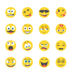 Emoticons flat icons vector