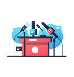 empty debate and negotiation microphone stand icon vector image