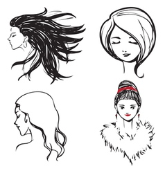 Faces women monochrome vector image