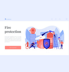 Fire protection concept landing page vector