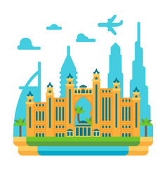 Flat design atlantis the palm dubai vector