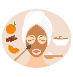Flat design woman in natural mask of yogurt orange vector image