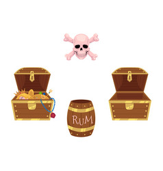 full and empty treasure chests skull rum barrel vector image