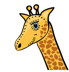 Giraffe cute funny cartoon head vector