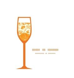 Golden art flowers wine glass silhouette vector