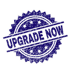 Grunge textured upgrade now stamp seal vector