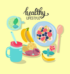 hand drawn with healthy breakfast vector image