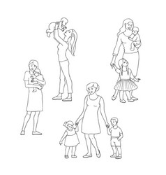 happy caucasian african mothers with kids vector image