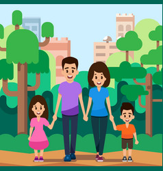 happy young family with children walks in park vector image