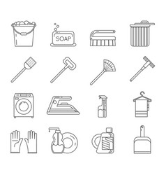Household washing cleaning accessories outline vector