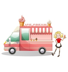 Ice cream truck and waitress vector