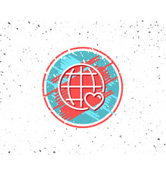 international love line icon heart symbol vector image
