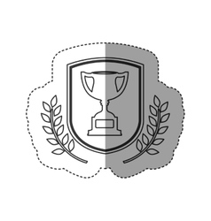 Isolated trophy inside label design vector