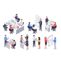 Isometric business office team corporate teamwork vector