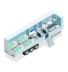Isometric hospital in car mobile hospital vector