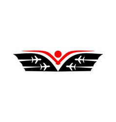 Logo plane traveling wing tourism vector