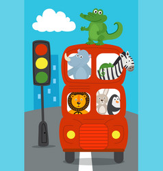 London red bus with animals rides on road vector