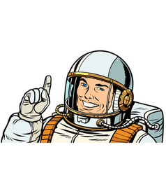 male astronaut pointing up isolate on white vector image