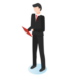 Man stand with notepad manager work on analysis vector