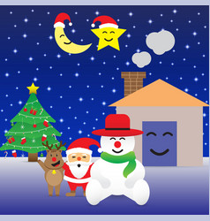 merry christmas - happy six friends and christmas vector image