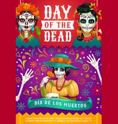 mexican dia de los muertos woman calavera skull vector image
