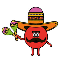 Mexican emoji with hat and maracas character vector