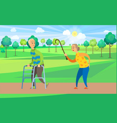 old pensioners walking outdoors rest in park vector image