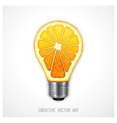 Orange light bulb vector