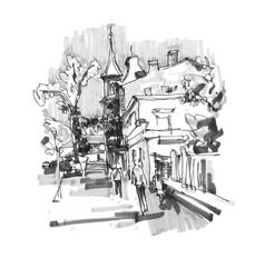 Original hand draw marker sketch of Kyiv building vector