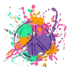 Peace Sign Over Colorful Grunge Background vector image