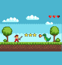 Pixel retro style game mode character arcade vector