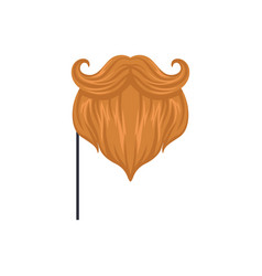 Red mustaches and beard masquerade decorative vector