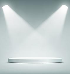 Round podium illuminated by spotlights vector
