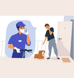 Safe shipping contactless delivery concept man vector