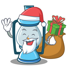 Santa with gift lantern character cartoon style vector