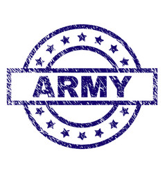 Scratched textured army stamp seal vector