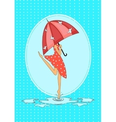 Seasonal card with girl in the rain vector image