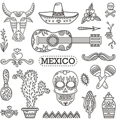 Set of Mexican traditional and cultural elements vector