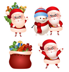 set santa claus with gifts vector image