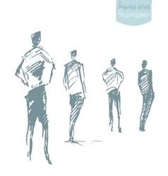 Set standing businessman concept sketch vector image