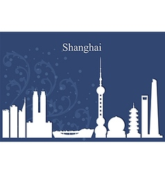 Shanghai city skyline on blue background vector image